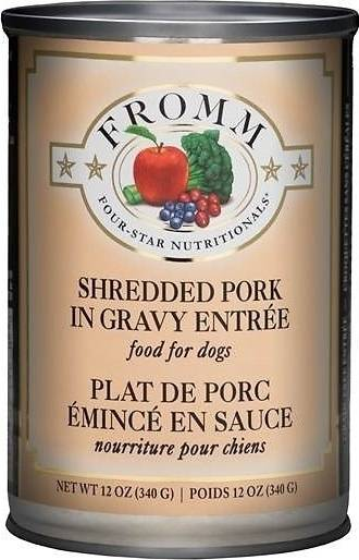 Fromm Four Star Grain Free Shredded Pork in Gravy Entree Canned Dog Food, 12-oz, case of 12