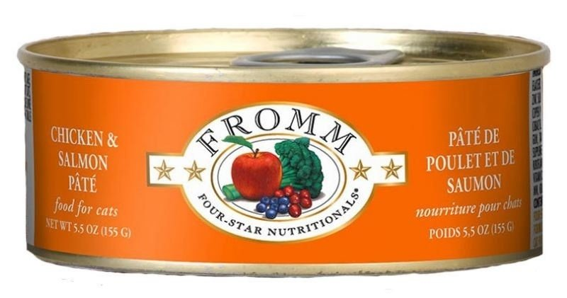 Fromm Four Star Grain Free Chicken and Salmon Pate Canned Cat Food, 5.5-oz, case of 12