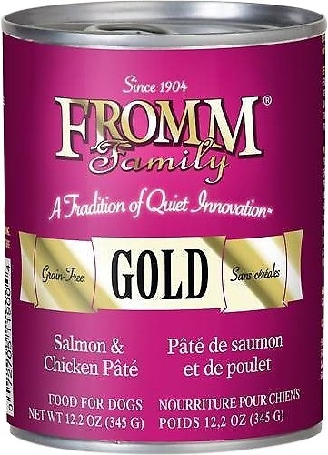 Fromm Gold Grain-Free Salmon and Chicken Pate Canned Dog Food, 12.2-oz, case of 12