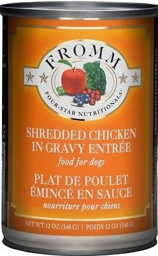 Fromm Four Star Shredded Grain Free Chicken in Gravy Entree Canned Dog Food, 12-oz, case of 12