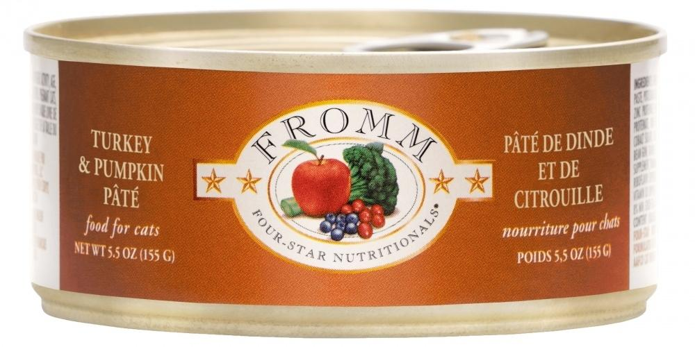 Fromm Four Star Grain Free Turkey & Pumpkin Pate Canned Cat Food, 5.5-oz, case of 12