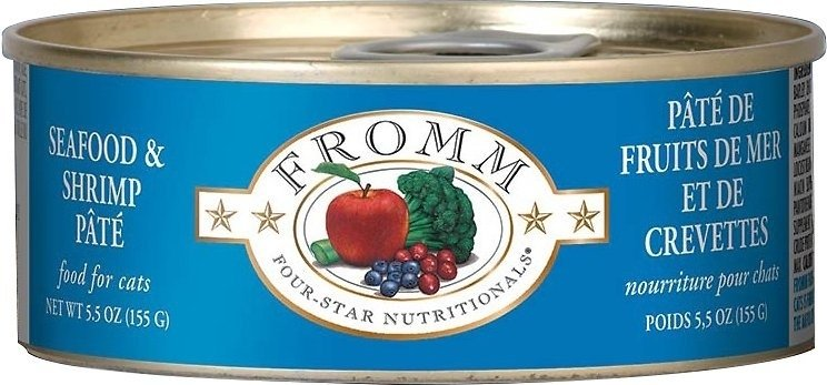 Fromm Four Star Seafood and Shrimp Pate Canned Cat Food, 5.5-oz