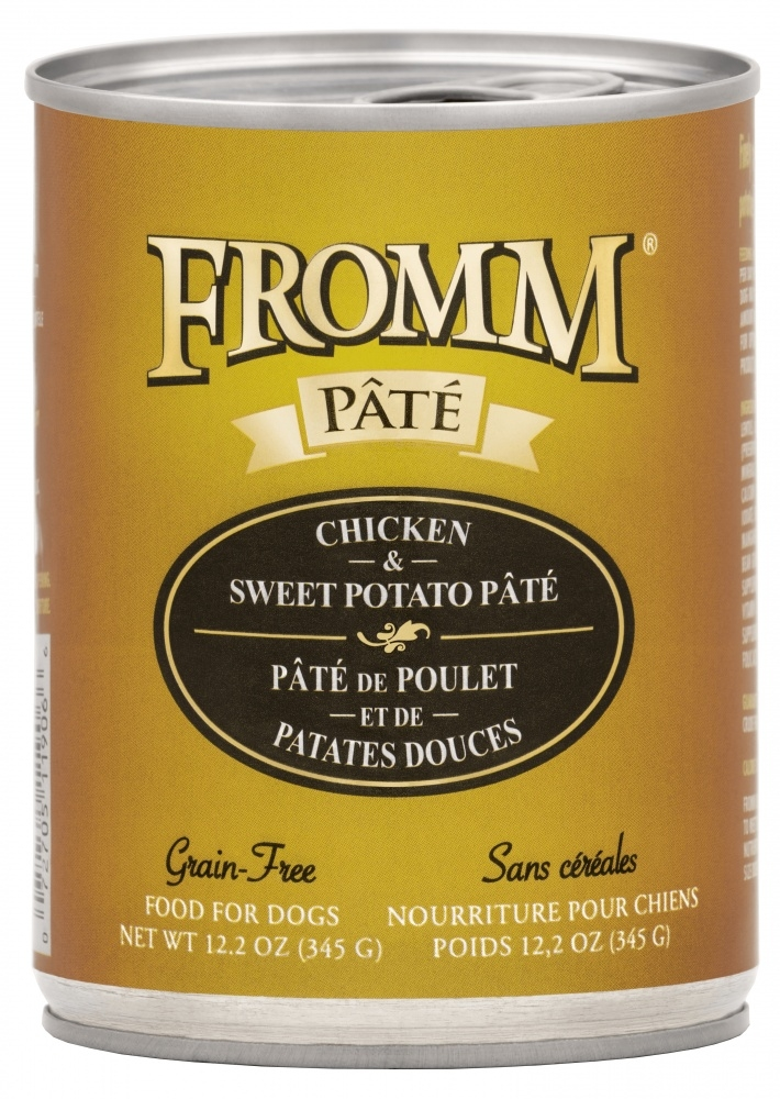 Fromm Grain Free Chicken & Sweet Potato Pate Canned Dog Food, 12.2-oz, case of 12