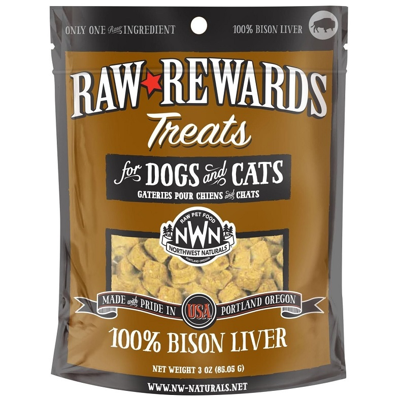 Northwest Naturals Raw Rewards Bison Liver Freeze Dried Dog & Cats Treats 3z