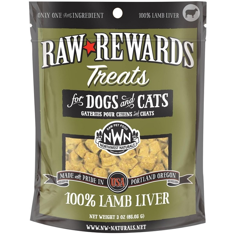 Northwest Naturals Raw Rewards Lamb Liver Freeze Dried Dog & Cats Treats, 3-oz