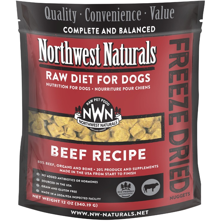 Northwest Naturals Raw Diet Grain-Free Beef Nuggets Freeze Dried Dog Food, 12-oz