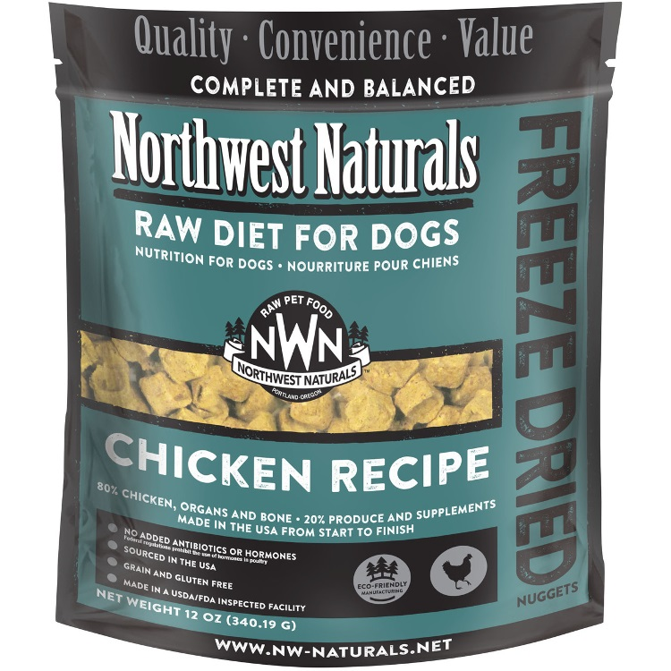 Northwest Naturals Raw Diet Grain-Free Chicken Nuggets Freeze Dried Dog Food 12-oz