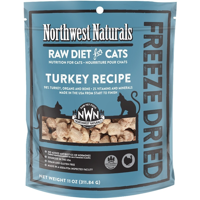 Northwest Naturals Raw Diet Grain-Free Turkey Nibbles Freeze Dried Cat Food 11-oz