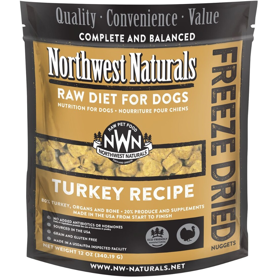 Northwest Naturals Raw Diet Grain-Free Turkey Nuggets Freeze Dried Dog Food 12-oz