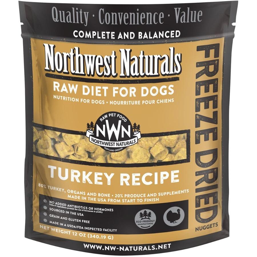 Northwest Naturals Raw Diet Grain-Free Turkey Nuggets Freeze Dried Dog Food, 12-oz