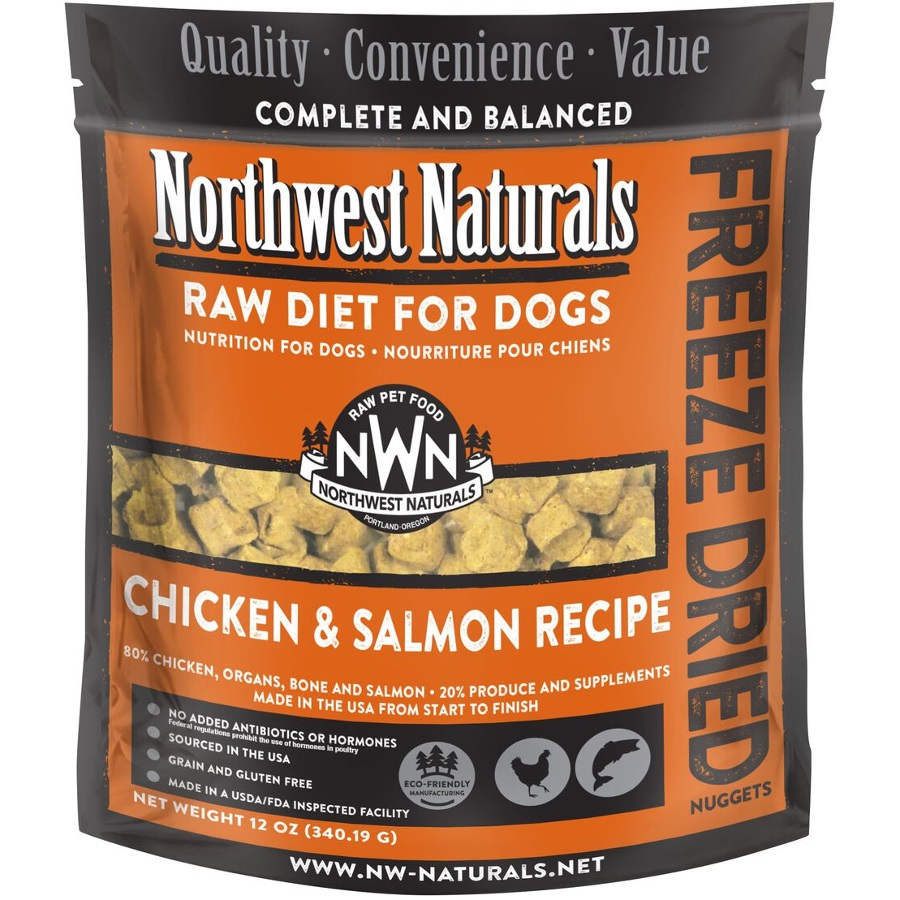 Northwest Naturals Raw Diet Grain-Free Chicken & Salmon Nuggets Freeze Dried Dog Food 12z