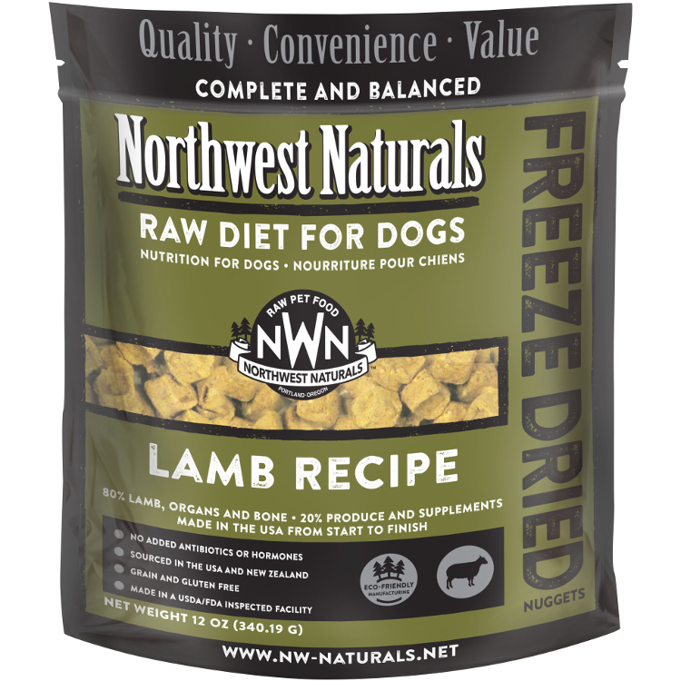 Northwest Naturals Raw Diet Grain-Free Lamb Nuggets Freeze Dried Dog Food 12-oz