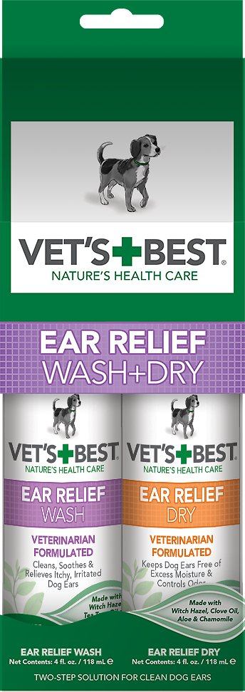 Vet's Best Ear Relief Wash + Dry Combo Pack for Dogs, 2-pack