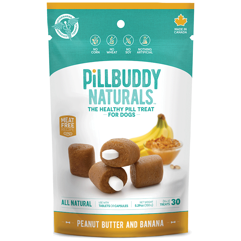 Pill Buddy Naturals - Peanut Butter & Banana Recipe Pill / Capsule Treats for Dogs 150g