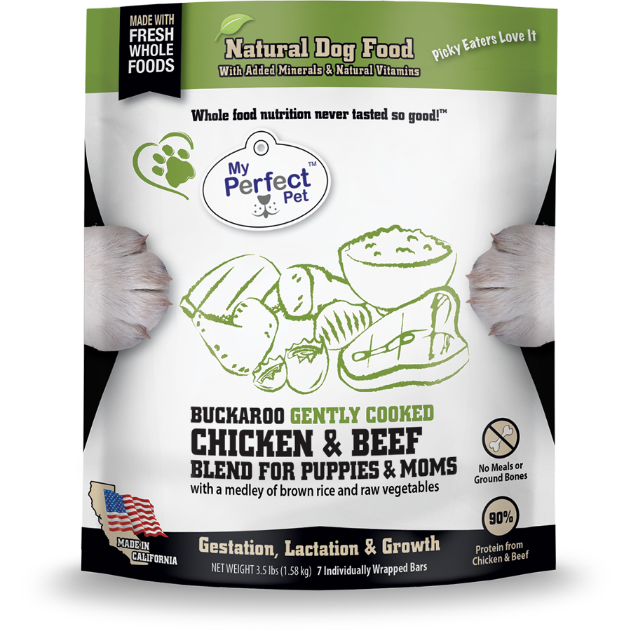 My Perfect Pet Buckaroo Chicken & Beef Blend Frozen Dog Food, 3.5-lb