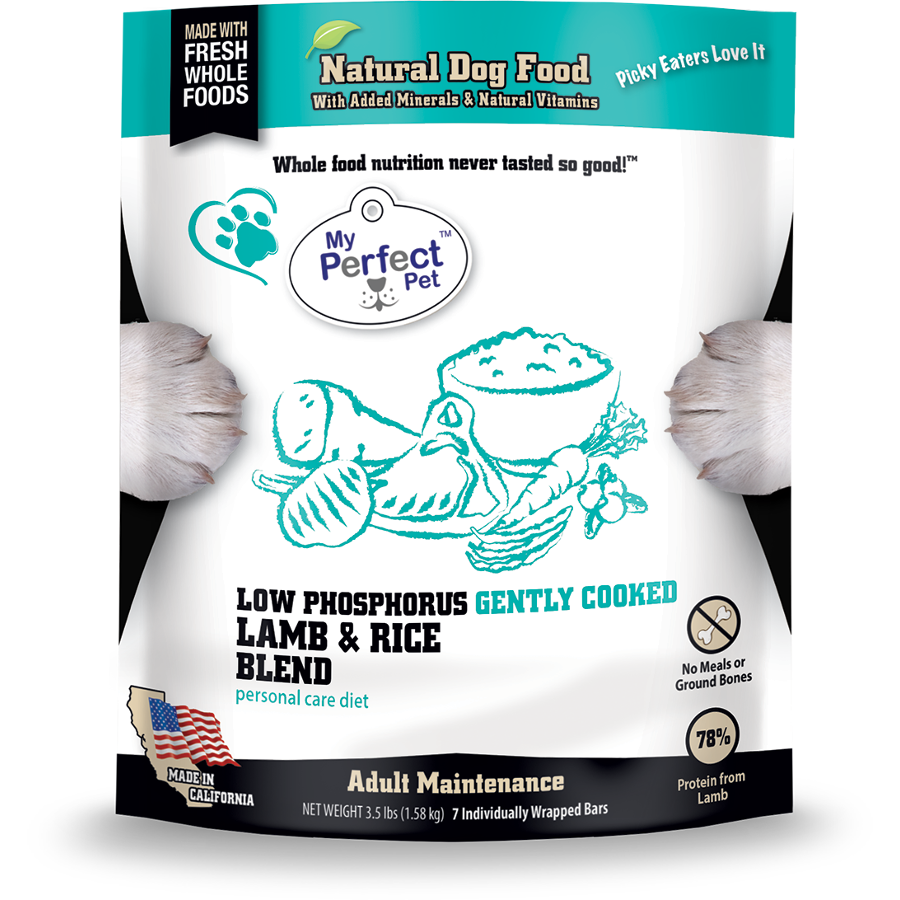 My Perfect Pet Low Phosphorus Lamb & Rice Blend Frozen Dog Food, 3.5-lb