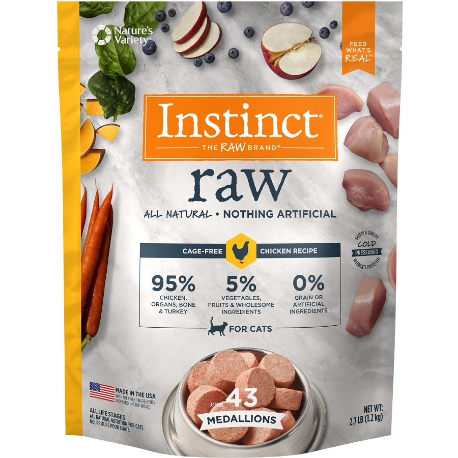 Instinct by Nature's Variety Raw Grain-Free Chicken 1z Medallions Raw Frozen Cat Food, 2.7lbs