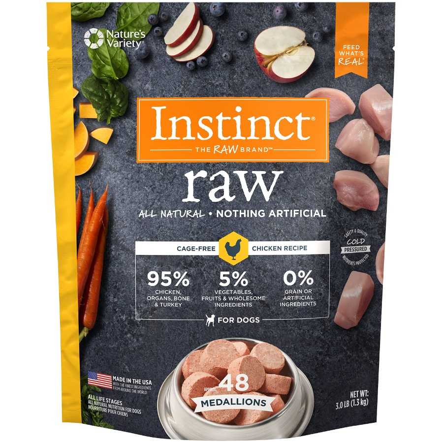 Nature's Variety Instinct Raw Grain-Free Chicken 1z Medallions Raw Frozen Dog Food, 3lbs