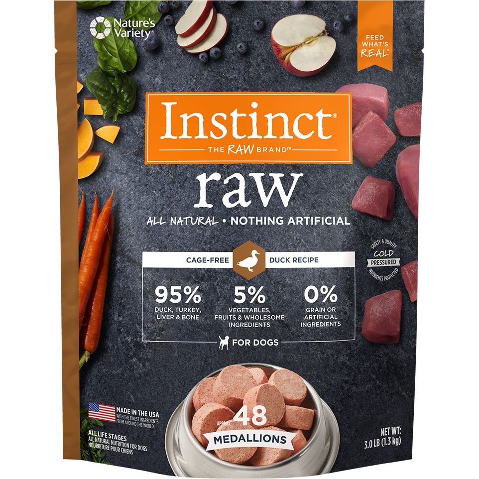 Instinct by Nature's Variety Raw Grain-Free Duck 1z Medallions Raw Frozen Dog Food, 3lbs