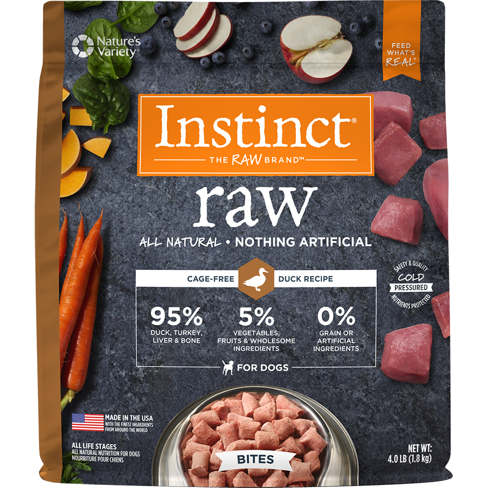 Instinct by Nature's Variety Raw Grain-Free Duck Bites Raw Frozen Dog Food, 4lbs