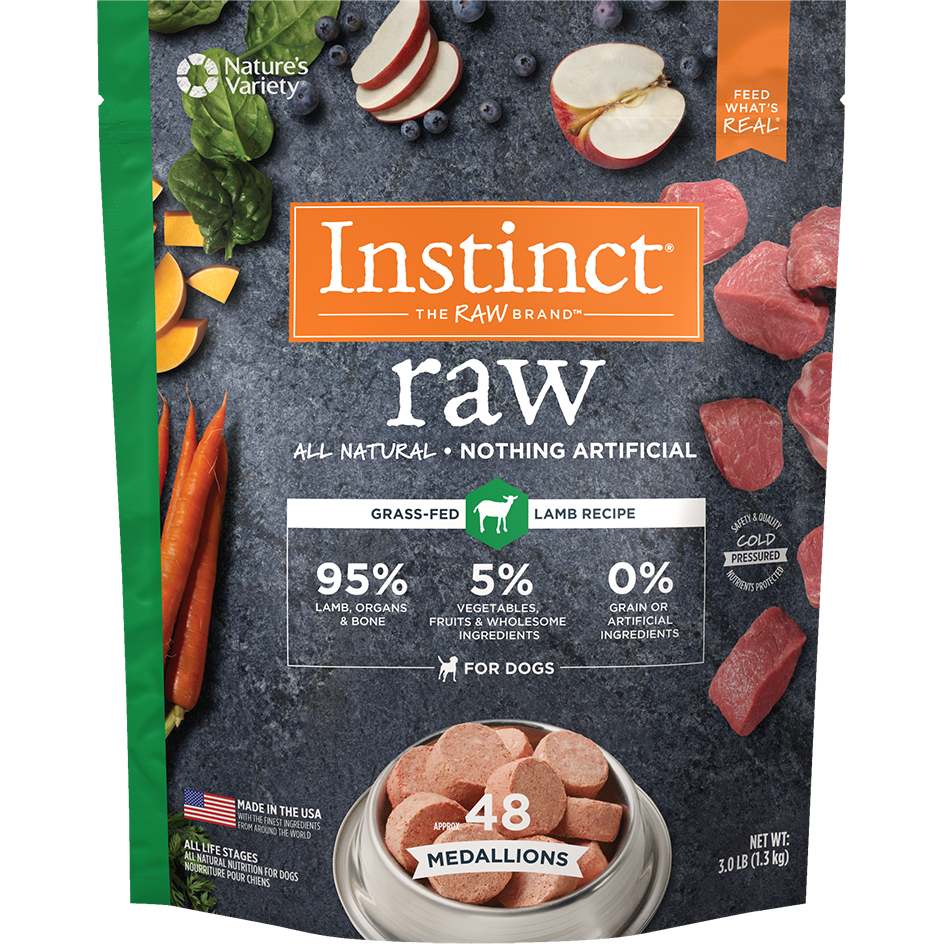 Instinct by Nature's Variety Raw Grain-Free Lamb 1z Medallions Raw Frozen Dog Food, 3lbs