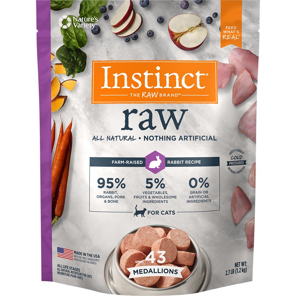 Nature's Variety Instinct Raw Grain-Free Rabbit 1z Medallions Raw Frozen Cat Food, 2.7lbs