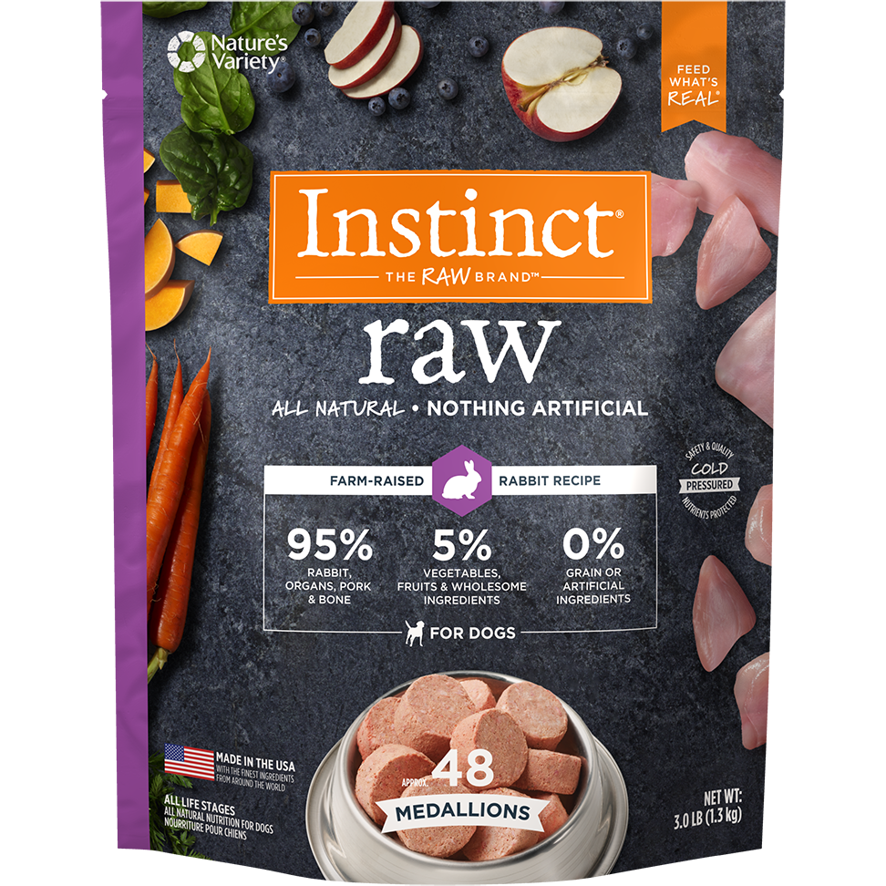 Instinct by Nature's Variety Raw Grain-Free Rabbit 1z Medallions Raw Frozen Dog Food, 3lbs