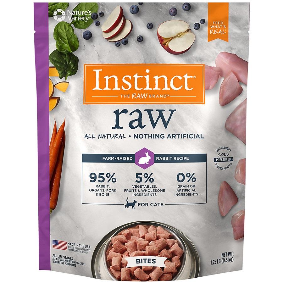 Instinct by Nature's Variety Raw Grain-Free Rabbit Bites Raw Frozen Cat Food, 1.25lbs