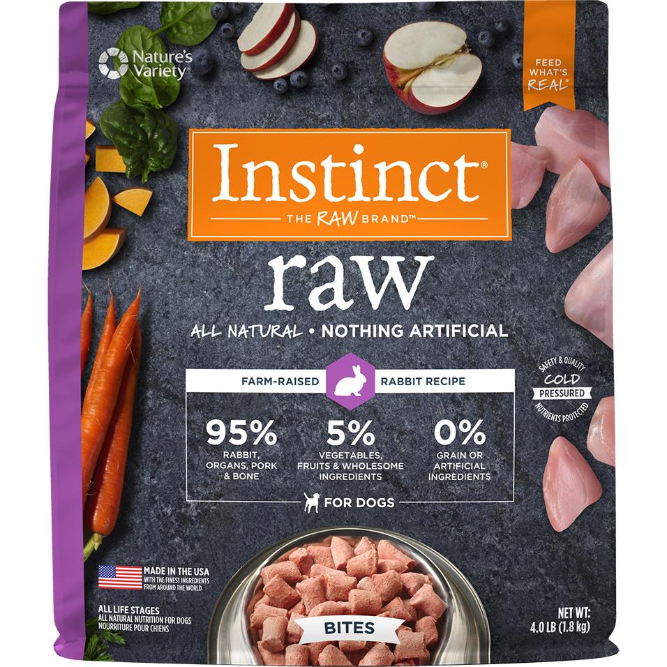 Instinct by Nature's Variety Raw Grain-Free Rabbit Bites Raw Frozen Dog Food, 4lbs