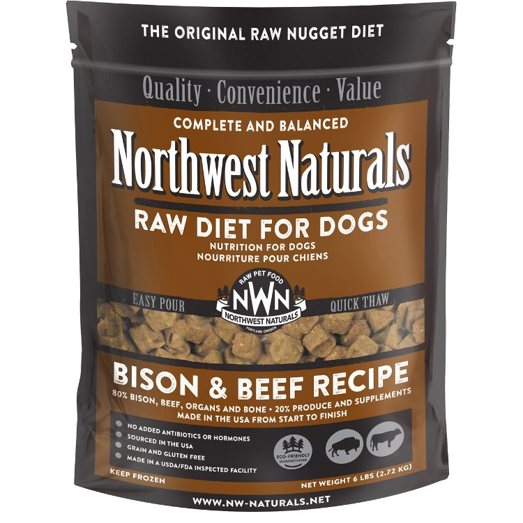 Northwest Naturals Raw Diet Grain-Free Bison & Beef Nuggets Raw Frozen Dog Food