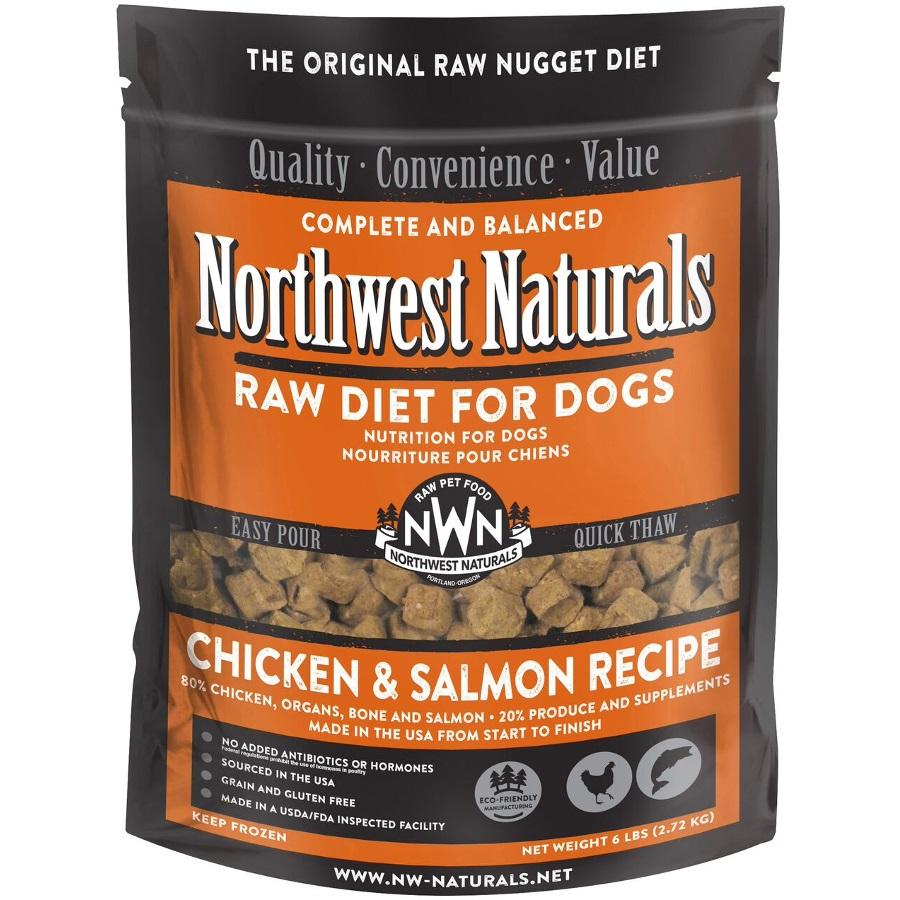 Northwest Naturals Raw Diet Grain-Free Chicken & Salmon Nuggets Raw Frozen Dog Food, 6-lb Size: 6lbs