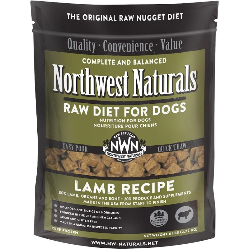Northwest Naturals Raw Diet Grain-Free Lamb Nuggets Raw Frozen Dog Food