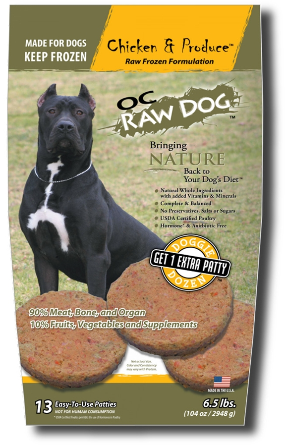 OC Raw Dog Chicken & Produce Patties Raw Frozen Dog Food