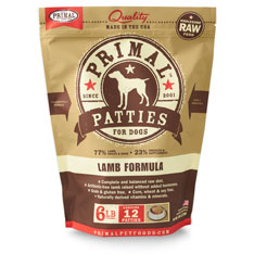 Primal Raw 8-oz Patties Lamb Formula Raw Frozen Dog Food