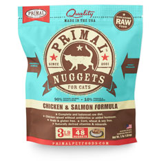 Primal Raw 1-oz Nuggets Chicken & Salmon Formula Raw Frozen Cat Food, 3-lbs