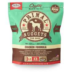 Primal Raw 1-oz Nuggets Chicken Formula Raw Frozen Dog Food, 3-lbs