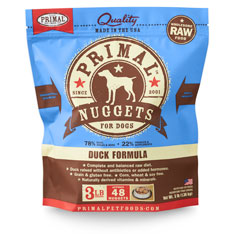 Primal Raw 1-oz Nuggets Duck Formula Raw Frozen Dog Food, 3-lbs