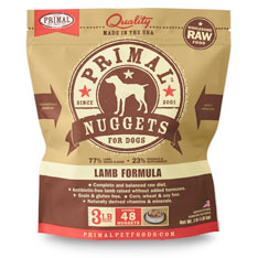 Primal Raw 1-oz Nuggets Lamb Formula Raw Frozen Dog Food, 3-lbs