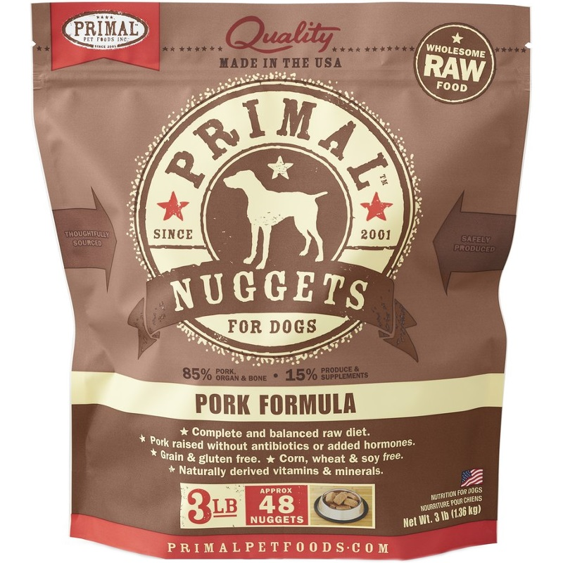 Primal Raw 1-oz Nuggets Pork Formula Raw Frozen Dog Food, 3-lbs
