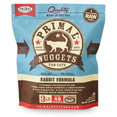 Primal Raw 1-oz Nuggets Rabbit Formula Raw Frozen Cat Food, 3-lbs
