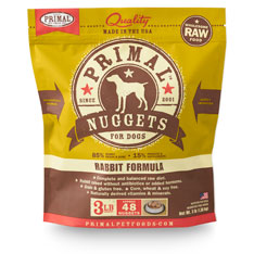 Primal Raw 1-oz Nuggets Rabbit Formula Raw Frozen Dog Food, 3-lbs