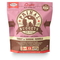 Primal Raw 1-oz Nuggets Turkey & Sardine Formula Raw Frozen Dog Food, 3-lbs