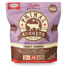 Primal Raw 1-oz Nuggets Turkey Formula Raw Frozen Cat Food, 3-lbs
