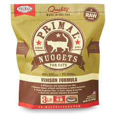 Primal Raw 1-oz Nuggets Venison Formula Raw Frozen Cat Food, 3-lbs