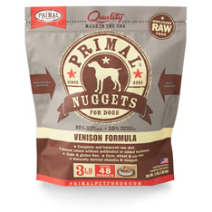 Primal Raw 1-oz Nuggets Venison Formula Raw Frozen Dog Food, 3-lbs