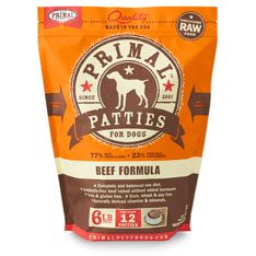 Primal Raw 8-oz Patties Beef Formula Raw Frozen Dog Food