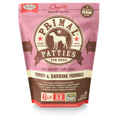 Primal Raw 8-oz Patties Turkey & Sardine Formula Raw Frozen Dog Food