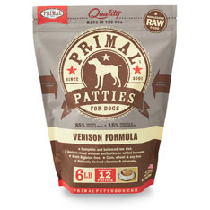 Primal Raw 8-oz Patties Venison Formula Raw Frozen Dog Food