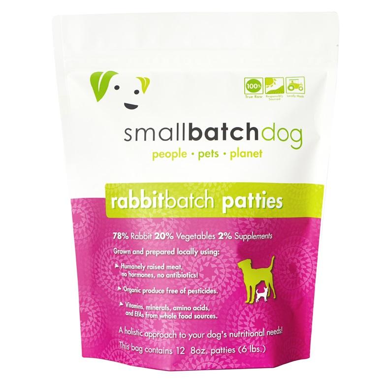 Small Batch Dog Rabbit Batch 8-oz Patties Raw Frozen Dog Food, 6-lb