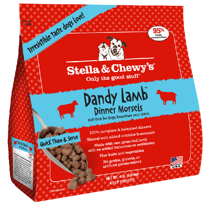 Stella & Chewy's Dandy Lamb Dinner Morsels Grain-Free Raw Frozen Dog Food, 4-lb